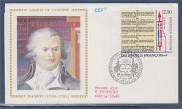 = Bicentenaire Révolution Texte Déclaration Des Droits De L'Homme N° 2605 1er Jour Versailles 26.8.89 Danton - 1980-1989