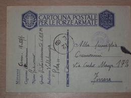 STORIA POSTALE ISTRIA CROAZIA FRANCHIGIA FF.AA. MILITARE CON SIGILLO DI VALLELUNGA POLA - Marcophilia