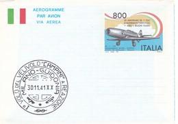 ITALIA REPUBBLICA AEROGRAMMA L. 800 50° ANNIVERSARIO DEL PRIMO VOLO  DEL PRIMO AEREO A REAZIONE ITALIANO  ANNO 1991 - Entiers Postaux
