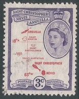 St Kitts-Nevis. 1954-63 QEII. 3c Used. SG 109 - St.Christopher-Nevis-Anguilla (...-1980)