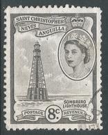 St Kitts-Nevis. 1954-63 QEII. 8c Used. SG 112b - St.Christopher-Nevis-Anguilla (...-1980)