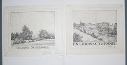 2 Ex-libris Modernes XXème Illustrés -  Allemagne - Paysages - Otto EMMEL - Ex-libris