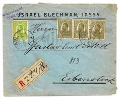 "N° 217-220 (3) JASSY 17 MAR 13 S/Lettre RECOMMANDEE ""Israël Blechman, JASSY"" V. Eibenstock? - 1881-1918: Carol I"
