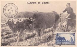 Carte-Maximum FRANCE N° Yvert 457 (LABOURS DE GUERRE) Obl Sp 1943 Salon Du Prisonnier - 1940-49