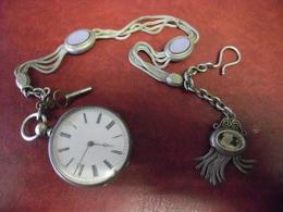 MONTRE à GOUSSET  En ARGENT Ancienne Mécanique à CLE Et Sa Chaine Art Nouveau - Elle Fonctionne ! - Watches: Bracket