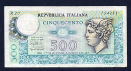 Banconota Italia - 500 Lire Mercurio 20/12/1976 - [ 2] 1946-… : Républic