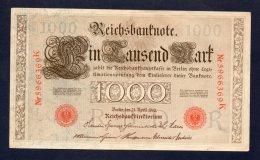 Banconota Germania 1000 Marchi 21/4/1910 - [ 2] 1871-1918 : German Empire