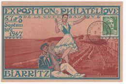 Carte Exposition Philatélique Biarritz 1947 - Cachets Commémoratifs