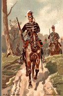PEINTURE LOUIS GEENS 1835-1906  ARMEE BELGES CHASSEURS A CHEVAL - Paintings