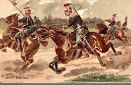 PEINTURE LOUIS GEENS 1835-1906  ARMEE BELGES LANCIERS - Paintings