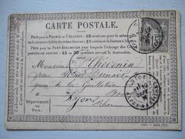 CARTE POSTALE DE 1877 / NICE A LYON (BOUCHES D'ARROSAGE) / TIMBRE 15 C - Non Classés