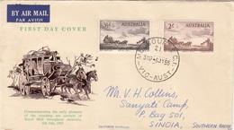 AUSTRALIEN 1955 - 2 Fach Frankierung Auf FDC Brief Gel. Melbourne > Sinoia - 1952-65 Elizabeth II: Dezimalausgaben (Vorläufer)