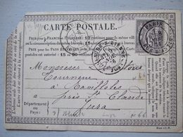 CARTE POSTALE DE 1876 / PARIS A RAVILLOLES (JURA) / TIMBRE 15 C - Non Classés