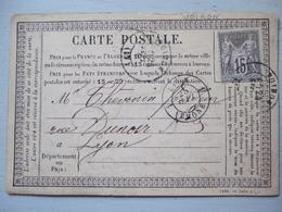 CARTE POSTALE DE 187? / VOIRON A LYON / TIMBRE 15 C - Non Classés