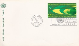 Uno Air Mail Postal Card 1968 New York, Tirst Day Of Issue - Covers & Documents