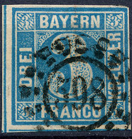 STAMP GERMAN STATES  BAVARIA,BAYERN 1849 3KR USED LOT#25 - Bavière
