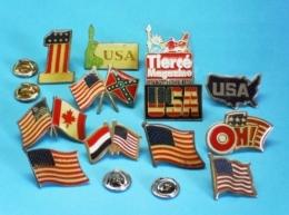 12 PIN'S //    **  USA ** STATUE DE LA LIBERTÉ /  LA BANNIÈRE ÉTOILÉ ** - Badges