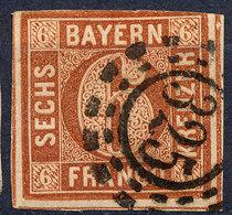 STAMP GERMAN STATES  BAVARIA,BAYERN 1849-58? 6KR USED LOT#84 - Bayern (Baviera)