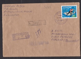 Kazakhstan: Registered Cover To Finland, 1997, 1 Stamp, Ice Skating, Olympics, Customs Cancel No Duty (traces Of Use) - Kazachstan