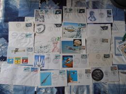 84Mé Enveloppes Cartes Timbres Cachets Oblitérations Premiers Jours Lot N°14 De 19 Pieces Avion Satellite Aviation - Andere