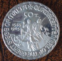 (J) ORDER Of ST. JOHN Of JERUSALEM: Franklinium 50 Tari 1965 Proof (3587)  SCARCE GREAT !!!!!! - Malta (La Orden De)