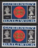 GUERNSEY - 1969 VIEWS DEFINITIVE 2d THICK & THIN PAPERS FINE MNH ** SG 16-16a - Guernsey