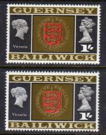 GUERNSEY - 1969 VIEWS DEFINITIVE 1/- THICK & THIN PAPERS FINE MNH ** SG 22-22a - Guernsey