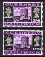 GUERNSEY - 1969 VIEWS DEFINITIVE 2/6 THICK & THIN PAPERS FINE MNH ** SG 25-25a - Guernsey