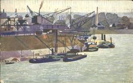 11355420 Hafenanlagen Basel Kuenstlerkarte Schiffe - Barcos