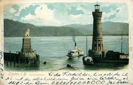 LINDAU  Hafeneinfahrt Belle Chromolithographie 1904 Allemagne - Lindau A. Bodensee