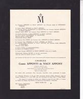 PALFA HONGRIE Charles Comte APPONYI De NAGY APPONY Ancien Parlementaire Hongrois 1878-1959 WINDISCH-GRAETZ - Avvisi Di Necrologio