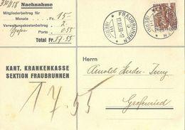 "NN Karte  ""Kant. Krankenkasse Sektion Fraubrunnen"" - Grafenried           1938 - Briefe U. Dokumente"