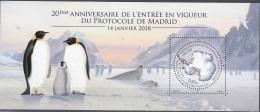 TAAF 2018 Bloc Feuillet 20 Ans Protocole De Madrid Neuf ** - Blocks & Sheetlets