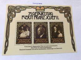 Liechtenstein Franz Josef II 75th Anniversary S/s 1981 Mnh - Liechtenstein