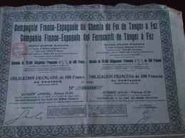 Actions Compagnie Franco-Espagnole Du Chemin De Fer De Tanger à Fez - Chemin De Fer & Tramway