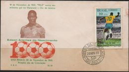 C3247-Brazil-Pelé 1000th Goal Scored FDC-Uncirculated-1969 - Soccer