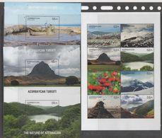 AZERBAIJAN, 2017, MNH,NATURE OF AZERBAIJAN, MOUNTAINS, FLOWERS, TREES, SLT+ 3 S/SHEETS - Géologie
