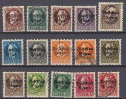 BAYERN -  1919 - Lotto 15 Valori Obliterati, Yvert 116/130. - Bavière