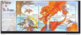 LIBERIA  2102 M  MINT NEVER HINGED MINI SHEET OF DINOSAURS ; DRAGON   ( 0252 - Prehistorisch