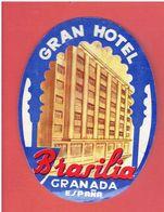 GRAN HOTEL BRASILIA GRANADA ESPANA GRAND HOTEL BRESIL GRENADE ESPAGNE ETIQUETTE D HOTEL EN TRES BON ETAT - Hotel Labels