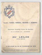Catalog * 22º Leilão (Inter-Sócios) * Filatélica, Numismática, Medalhística E Filumenística * ARAL * 1978 * Portugal - Supplies And Equipment