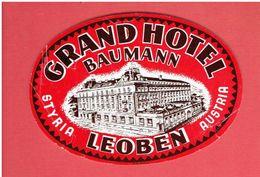 GRAND HOTEL BAUMANN STYRIA LEOBEN AUSTRIA OSTERREICH AUTRICHE ETIQUETTE D HOTEL EN BON ETAT - Hotel Labels
