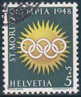 Jeux Olympiques D'hiver St.Moritz 1948 : No W 25 X ( Fils Jaunes ), Proprement Oblitéré - Blocks & Kleinbögen