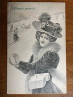 (ski) Elégante à La Boule De Neige Et Skieurs. Carte éditée à Vienne Vers 1905, SUP. - Illustrateurs & Photographes