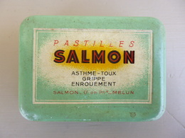 Boite Métal Pastilles SALMON ( Asthme - Toux - Grippe - Enrouement ) - Expédition Courrier Ordinaire - Boxes