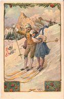 (ski) Schi Heil: Couple à Skis, état SUP. - Illustrateurs & Photographes