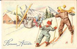 (ski) Trois Jeunes Skieurs, 1950, SUP. - Illustrateurs & Photographes