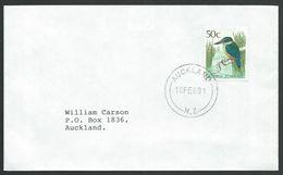 NEW ZEALAND 1989 Cover, Single Franking 50c Bird - Kingfisher..............51905 - New Zealand