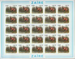 BUZIN / ZAIRE 1994 / FEUILLE COMPLETE   N O N   DENTELEE / 50 ANS DU PARC DE LA GARAMBA / COB 1456 - 1985-.. Oiseaux (Buzin)