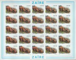 BUZIN / ZAIRE 1994 / FEUILLE COMPLETE   N O N   DENTELEE / 50 ANS DU PARC DE LA GARAMBA / COB 1455 - 1985-.. Oiseaux (Buzin)